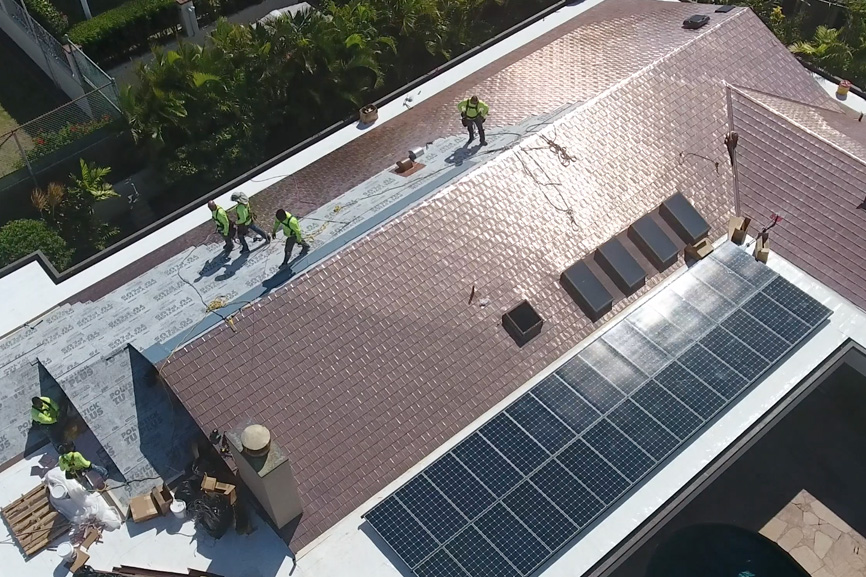 Watch Our Latest Drone Video Of Our Copper Roof Shingles.